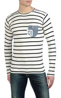 Armani Jeans Lightweight Cotton Striped Sweater Denim Pocket - Lyst