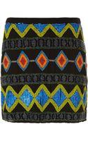Topshop Premium Aztec Beaded Skirt - Lyst