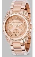 Michael Kors Blair Rose Goldtone Ip Stainless Steel Chronograph Bracelet Watch - Lyst