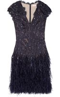 Matthew Williamson Ornate Flounder Feather-Trimmed Devoré Dress - Lyst