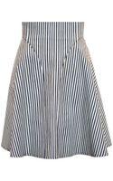 Tibi Stripe Denim Panel Skirt - Lyst