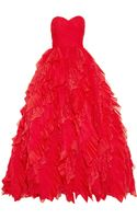 Oscar de la Renta Lace and Tulle Gown - Lyst