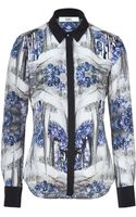 Prabal Gurung Printed Silk Blouse with Contrast Placket - Lyst