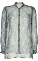 Matthew Williamson Bluegreen Printed Sheer Silk Shirt - Lyst