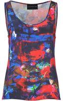 Max Fowles Blueredmulti Printed Silk Tank Top - Lyst