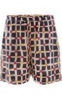 Sonia By Sonia Rykiel Silk Cherry Check High-Waisted Shorts - Lyst