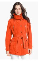 London Fog Belted Jacket with Hidden Hood - Lyst