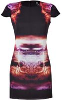 McQ by Alexander McQueen Blackmulti Printed Capsleeve Silk Dress - Lyst