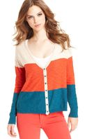Kensie Long-Sleeve Color-Block Cardigan - Lyst