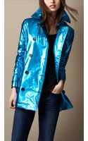 Burberry Brit Metallic Laminated Cotton Trench Coat - Lyst