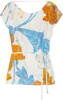 Matthew Williamson Drapeback Printed Silk Top - Lyst