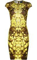 McQ by Alexander McQueen Gold Petal Print Cap Sleeve Dress - Lyst