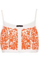 Topshop Button Front Floral Crop Top - Lyst