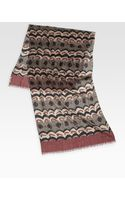 Burberry Painted Floral Stripe Wool Scarf - Lyst