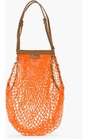 Carven Orange Leathertrimmed Net Bag - Lyst