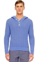 Michael Kors Ribbed Hooded Pullover - Lyst