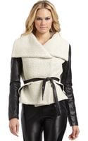 Sachin & Babi Lucerne Wide Collar Leather Sleeve Jacket - Lyst