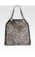 Stella McCartney Falabella Zebra Print Burlap Shoulder Bag - Lyst
