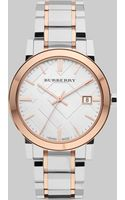 Burberry Twotone Stainless Steel Check Watch - Lyst
