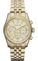 Michael Kors Ladies Lexington Gold Stainless Steel Chronograph Watch - Lyst