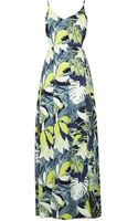Topshop Leaf Split Hem Maxi Dress - Lyst