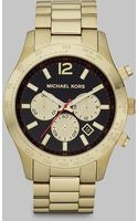 Michael Kors Shiny Gold Chronograph Watch - Lyst