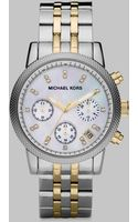 Michael Kors Two Tone Stainless Steel Chronograph Watch - Lyst