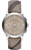 Burberry Check Stainless Steel Chronograph Watch - Lyst