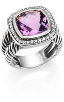 David Yurman Amethyst Diamond Sterling Silver Ring - Lyst