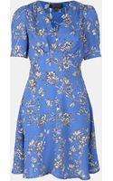 Topshop Floral Branch Tea Dress - Lyst