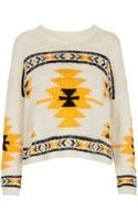 Topshop Knitted Hairy Aztec Jumper - Lyst