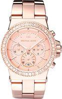Michael Kors Rose Gold Baguette Bezel Watch - Lyst