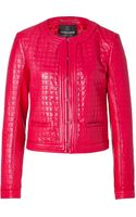 Roberto Cavalli Quilted Leather Jacket in Coral - Lyst