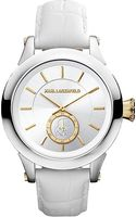Karl Lagerfeld Watches Round Stainless Steel and Leather Watch - Lyst