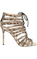 Valentino High 10 Heeled Metal Sandals with Snake Cage - Lyst