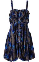 Christopher Kane Ruched Floral Velvet Dress - Lyst