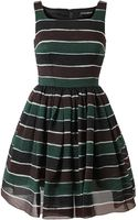 Dolce & Gabbana Striped Silk Organza Dress - Lyst