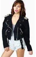 Nasty Gal Heavy Metal Denim Moto Jacket - Lyst