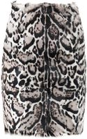 Christopher Kane Jaguarprint Goat Hair and Leather Pencil Skirt - Lyst