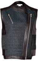 Helmut Lang Leather Paneled Biker Vest in Everest/black - Lyst