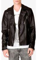 21men Faux Leather Moto Jacket - Lyst