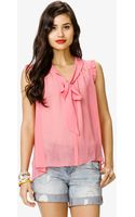 Forever 21 Sleeveless Tie Neck Blouse - Lyst