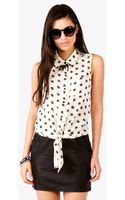 Forever 21 Scratched Polka Dot Print Shirt - Lyst