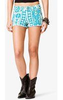Forever 21 Southwestern Print Denim Shorts - Lyst