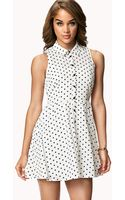 Forever 21 Polka Dot Shirt Dress - Lyst