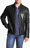 Cole Haan Lambskin Leather Moto Jacket - Lyst