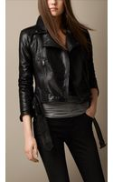Burberry Brit Trench Belt Leather Biker Jacket - Lyst
