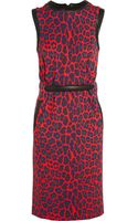 Christopher Kane Leather Trimmed Leopard Print Pontã Dress - Lyst