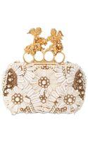 Alexander McQueen Embroidered Silk Knuckle Box Clutch - Lyst