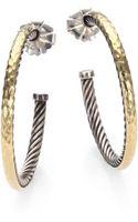 David Yurman Sterling Silver 18k Yellow Gold Hoop Earrings15 - Lyst